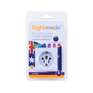 Flightmode Inbound Universal Travel Adaptor - Allows all other plug styles to connect to Australian and New Zealand style power outlets. Earthed. Max loading: 10A Adaptors do not convert voltage or frequency - please check the supply voltage and frequency and the voltage and frequency required to operate your appliance. If either of these differ, an appropriate transformer must be used.
