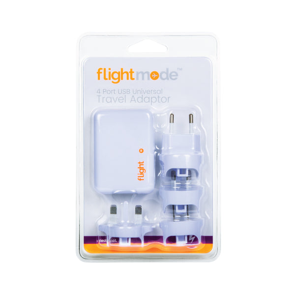 Flightmode Multi USB Travel Adaptor - 4 port USB charger with multi travel adaptor input connector. Light weight design is easily portable and includes 4 country plugs. Can be used in Australia, EU, USA and UK. Adaptors do not convert voltage or frequency - please check the supply voltage and frequency and the voltage and frequency required to operate your appliance. If either of these differ, an appropriate transformer must be used.