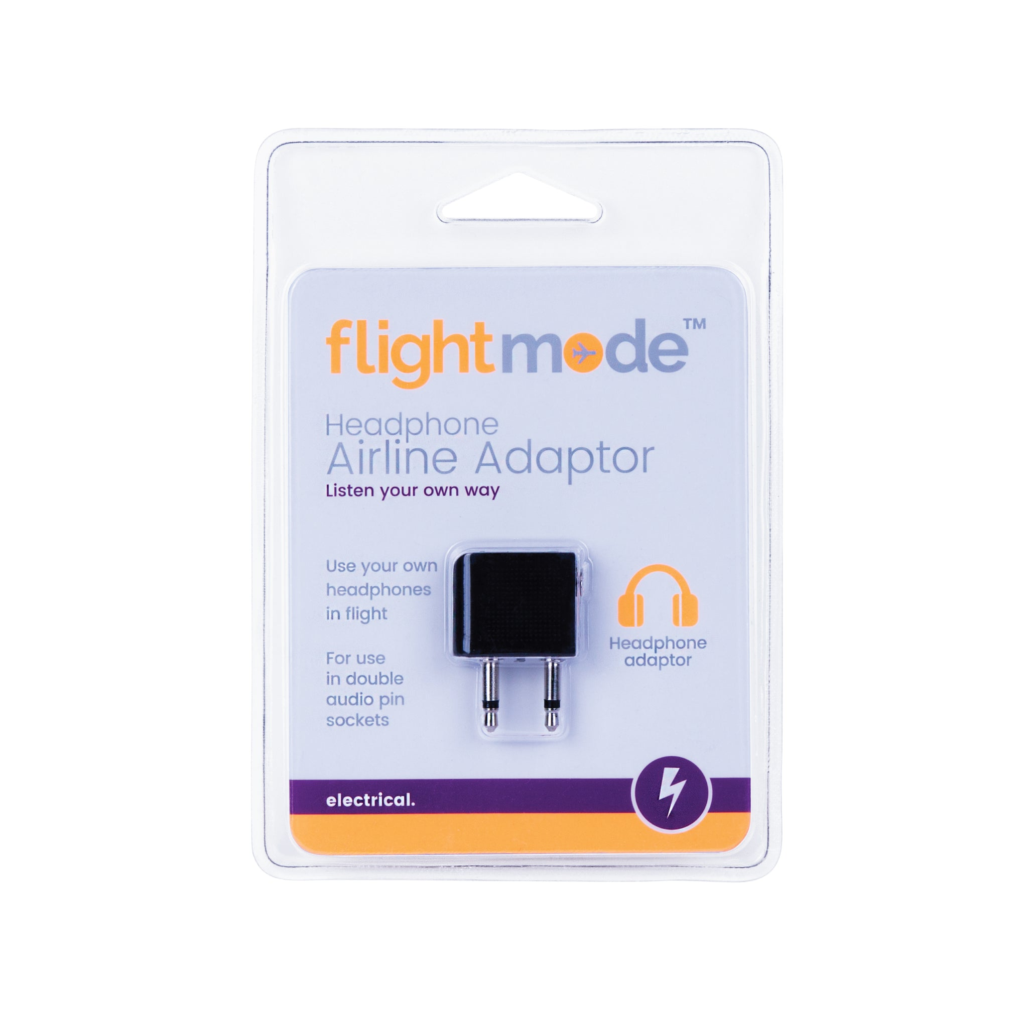 Flightmode Airline Adaptor - This adaptor allows you to use your single 3.5mm pin headphones in double pin audio sockets commonly found on many airlines.