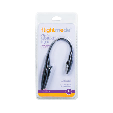 Flightmode Clip-On LED Book Light - This Clip-On LED Book Light clips easily onto a book cover and features a powerful LED bulb to illuminate the pages without disturbing anyone around you. This light is perfect for keeping at your bedside or for use while travelling. Requires 2 x CR1220 batteries (included).
