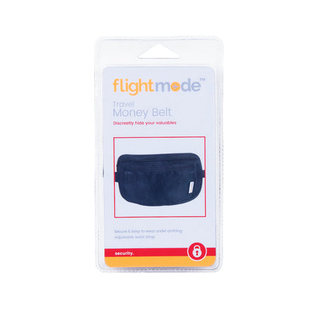 Flightmode Security Money Belt - Made to be worn beneath clothing but not to be seen preventing theft of personal items such as passports, credit cards, money and any other valuables. With 2 large zippered compartments, wide elastic adjustable strap and comfortable backing and unisex design.