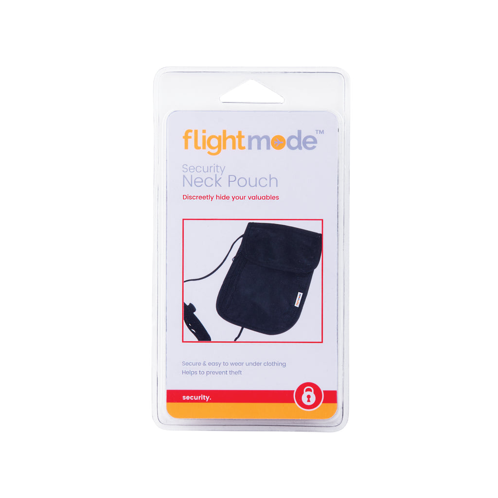 Flightmode Security Neck Pouch - Made to be worn beneath clothing but not to be seen preventing theft of personal items such as passports, credit cards, money and any other valuables. Padded, adjustable neck strap with toggles, 2 large zippered compartments, storage pockets, comfortable backing and unisex design.