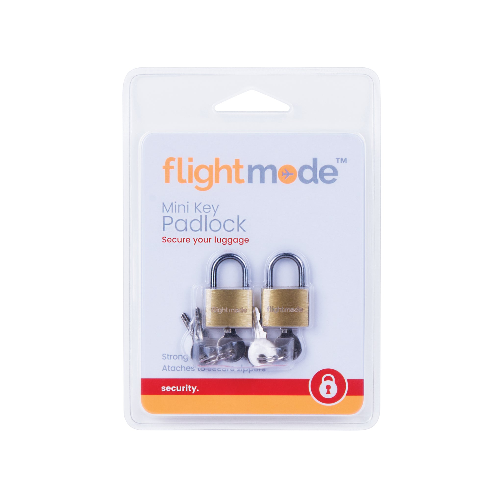 Flightmode Brass Padlock 2 Pack - 20mm brass locks with 3 keys per pack. These locks are strong, durable and secure with a brass body for resistance against rust and corrosion they're ideal for zippered cases, bags, backpacks, lockers and more.