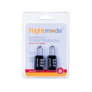 Flightmode 3 Dial Padlock 2 Pack - Combination padlock for luggage with reliable 3 dial design. No keys to lose, easy to set using a code of your choice. Deter would-be bag thefts with brutalist composition Solid 10mm compact case construction Lightweight 22gm body while still resistant to bag tampering Fits most bag and luggage zippers Ideal for; luggage, zippered bags, backpacks, overnight bags, and lockers Carry-on compliant design Set your own personal lock combination Key free lock, no keys to lose an