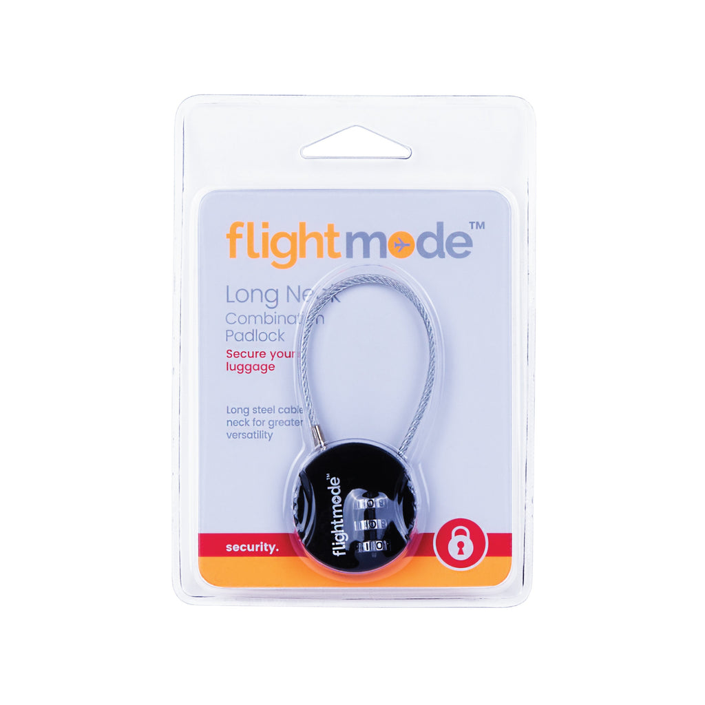 Flightmode 3 Dial Steel Cable Padlock - Versatile and flexible combination padlock for luggage with a reliable 3 dial design. No keys to lose, easy to set using a code of your choice. Deter would-be bag thefts with brutalist composition Solid 8mm compact case construction Lightweight 30gm body while still resistant to bag tampering Fits most bag and luggage zippers Ideal for; luggage, zippered bags, backpacks, overnight bags, and lockers Carry-on compliant design Set your own personal lock combination Key