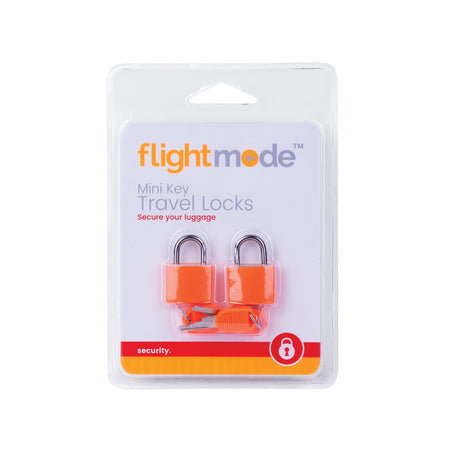 Flightmode Mini Padlock 2 Pack - Solid brass mechanism and brightly coloured outer casing to easily identify your bag. Fits most zipped luggage 2 Locks per pack / 2 keys per lock. Available in black, blue and orange.