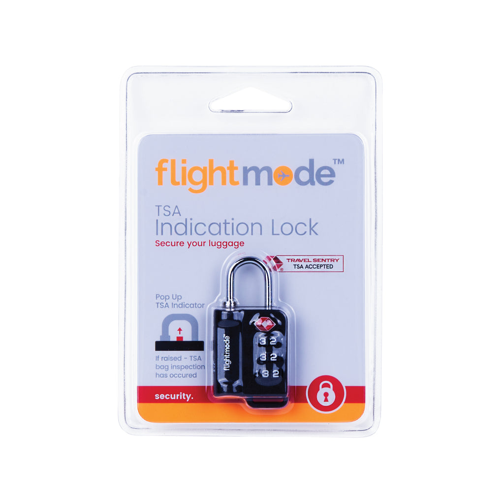 Flightmode TSA 3 Dial Indicator Padlock - Using this Travel Sentry® Approved lock allows your luggage to be unlocked and inspected by security authorities without damage. If the pop-up indicator is raised up this means TSA luggage inspection has occurred. Deter would-be bag thefts with brutalist composition Solid 10mm compact case construction Lightweight 28gm body while still resistant to bag tampering Fits most bag and luggage zippers Ideal for; luggage, zippered bags, backpacks, overnight bags, and lock