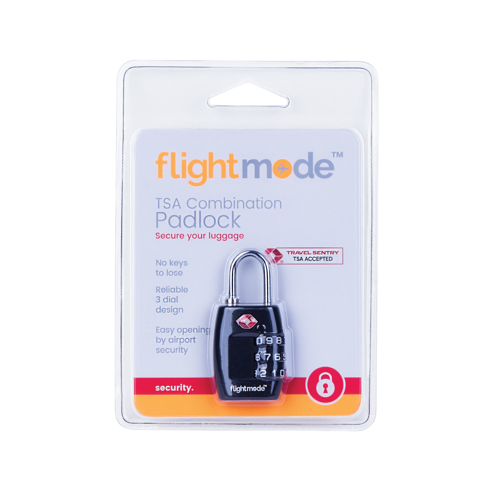 Flightmode TSA 3 Dial Padlock - Using this Travel Sentry® Approved lock allows your luggage to be unlocked and inspected by security authorities without damage. No keys to lose, easy to set using a code of your choice. Deter would-be bag thefts with brutalist composition Solid 12mm compact case construction Lightweight 28gm body while still resistant to bag tampering Fits most bag and luggage zippers Ideal for; luggage, zippered bags, backpacks, overnight bags, and lockers Carry-on compliant design Set you
