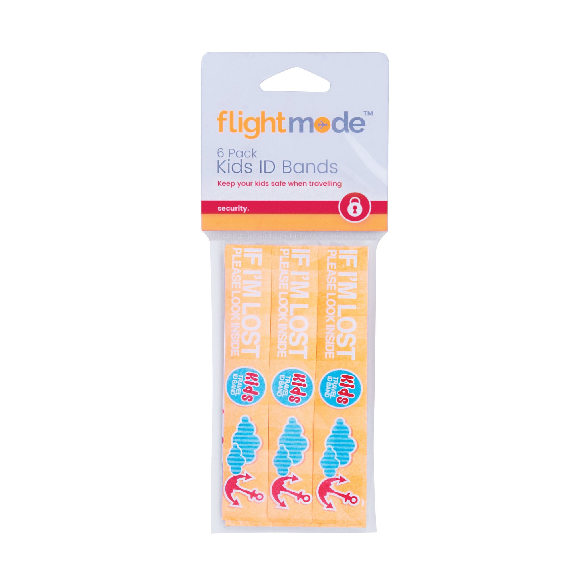 Flightmode Kids ID Band 6 Pack - If you become separated from your child at a busy airport or beach, they may have difficulty communicating to those around them - these wristbands provide the answer! Your child's information is concealed safely inside the band, safe from prying eyes. They are easy to use, just fill in details with a pen, and they're waterproof and tough.