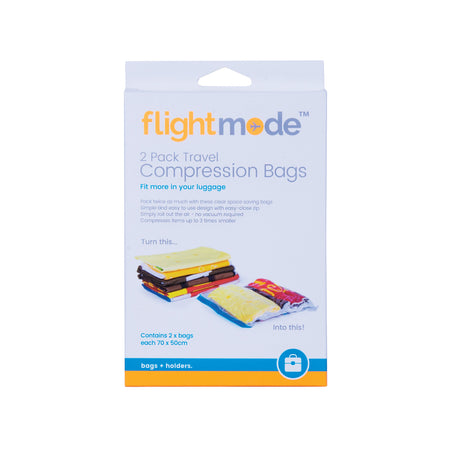 Flightmode Vacuum Compression Bag 2 Pack - Travel roll-up compression bags are the simple way making more items fit in to your suitcase. They are also a great way of separating your dirty and clean clothes whilst travelling. Versatile and easy to use, simply fold and pack items in to the bag, zip close the open end and roll the bags to expel the unwanted air (no vacuum required).
