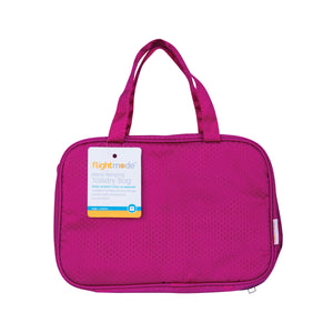 Flightmode Womens Hanging Cosmetic and Toiletry Bag - Water resistant and carry-on approved this toiletry bag is compact and stores easily. It has practical carry handles for ease of carrying. Available in pink, blue and black. Measures: 25 x 17 x 8.5cm