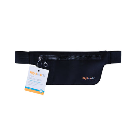 Flightmode Sports Travel Belt - Water resistant and lightweight, this Travel Sports Belt has an elastic strap with quick release buckle, a hidden security zipper as well as a headphone hole to listen to music when on the go. Available in black, blue and pink.