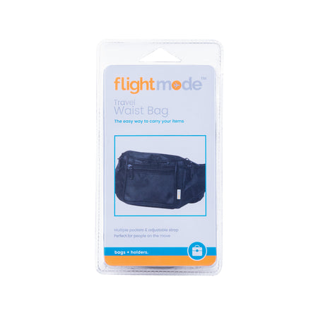 Flightmode Travel Waist Bag - The simple way to carry your valuables and daily needs. Perfect for everyday use and ideal for travelling. Store money, medications, phone, portable devices, maps and more all in this convenient waist bag. With an adjustable waist strap and 4 zippered compartments.