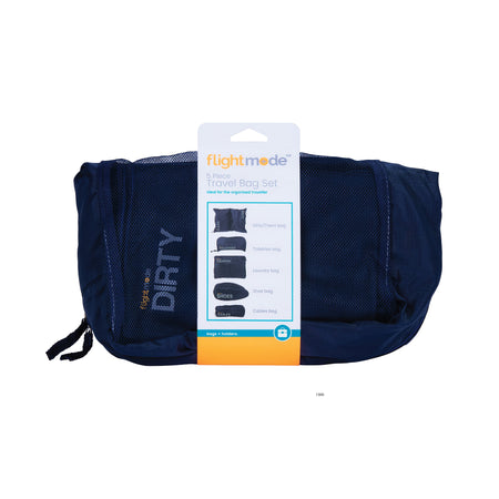 Flightmode Travel Bag 5 Pack Set - Ideal for storing toiletries, travel accessories, cosmetics, personal items and more... Each bag measures: Toiletries 31 x 16 x 8cm Shoes 31 x 19 x 13cm Laundry 35 x 27 x 8cm Dirty & Clean 50 x 33 x 0.5cm Cables 26 x 10 x 6cm