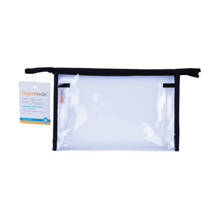 Flightmode PVC Clear Zippered Pouch - This carry-on approved bag is water resistant and suitable for many purposes with a clear body so you can easily see what's inside. Measures: 22 x 17 x 5cm