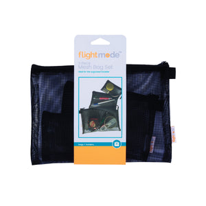 Flightmode Travel Mesh Bag Set 3 Pack - Travel Mesh Bag Set of 3 - Material Eyelet Fabric with Zipper -Size: S - 12.5 x 10cm, M: 18 x 13.5cm, L - 25 x 18.5cm - Perfect for Trav el Purposes