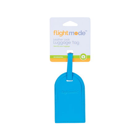 Flightmode Leather Look Luggage Tags - Identify your luggage with the premium leather look luggage tags.Fastens through any strap or loops on luggage See-thru window with protective flap perfect recording personal identification information Durable PU stitched casing prevents damage during transit Size: 11 x 7cm - 3 Colours Assortrd - Black, Blue, Pink with Debossed FLight Mode Logo