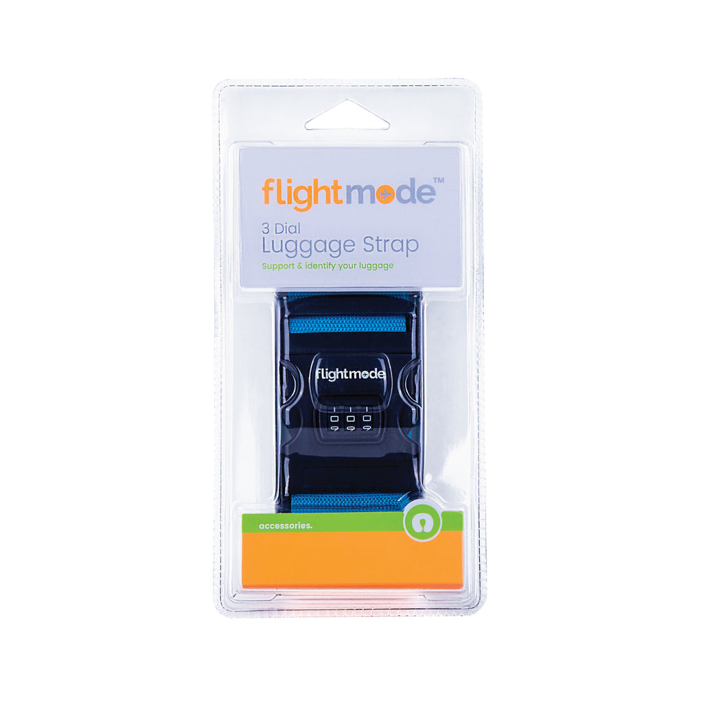 Flightmode 3 Dial Luggage Strap - 3 Dial Lugggae Strap - Size:5*180CM Maiterial:PP - Black Base with Loog Print - 3 Assorted Colours - Black, Blue, Orange