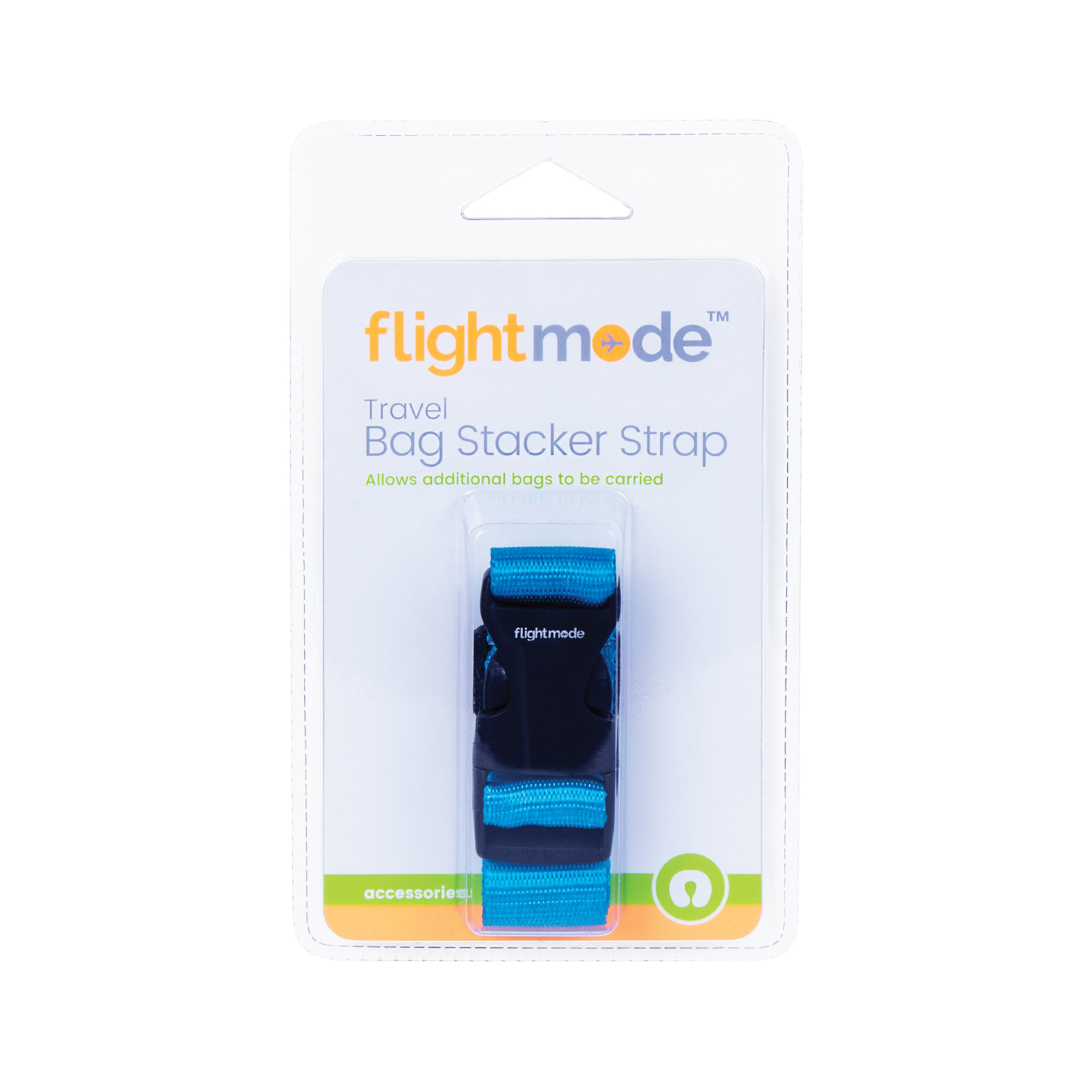 Flightmode Bag Stacker - Strap attachment for luggage Durable quick-release buckle for easy using Dimension: 2.4 x 32 cm - Black Base with Loog Print -3 Assorted Colours - Black, Blue, Orange