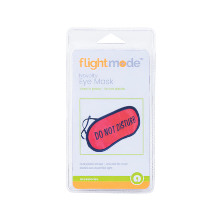 Flightmode Novelty Eye Mask - This eye mask is a fun and natural way to assist in allowing you to fall and stay asleep. Featuring a silky satin finish, dual elastic straps, block out lining with a quirky do not disturb print on the front, for those who do not want to be disturbed during their slumber.
