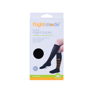 Flightmode Flight Socks - Large - Use your body's natural pressure points to relieve motion sickness. Place the band three fingers width from your wrist with the raised surface facing inward to the skin. Both bands need to be worn to be effective. Suitable for adults and children over three.