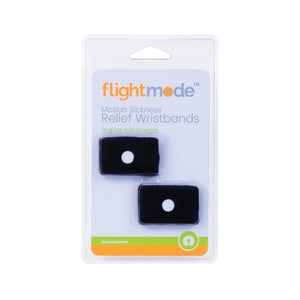 Flightmode Motion Sickness Relief Wristband Pair - 2 Pack motion sickness band - knitted elasticated wristband, which operates by applying pressure on the Nei Kuan accupressure point on each wrist by means of a plastic stud., A Drug free way to aleviate Motion sickness and nausea - Effective, Reusable, Washable, one size fits all - Natural Releif - Safe and Harmless - Blavk Clr Only