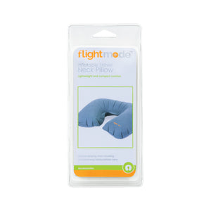 Flightmode Inflatable Travel Neck Pillow - This Inflatable Travel Neck Pillow is lightweight, compact, and features an easy inflate/deflate valve. Designed to support both your head and neck, it has a soft touch flocked PVC fabric and is a must have for any traveller. This neck pillow folds up and can fit in your pocket, and has a valve to prevent unwanted air escaping.