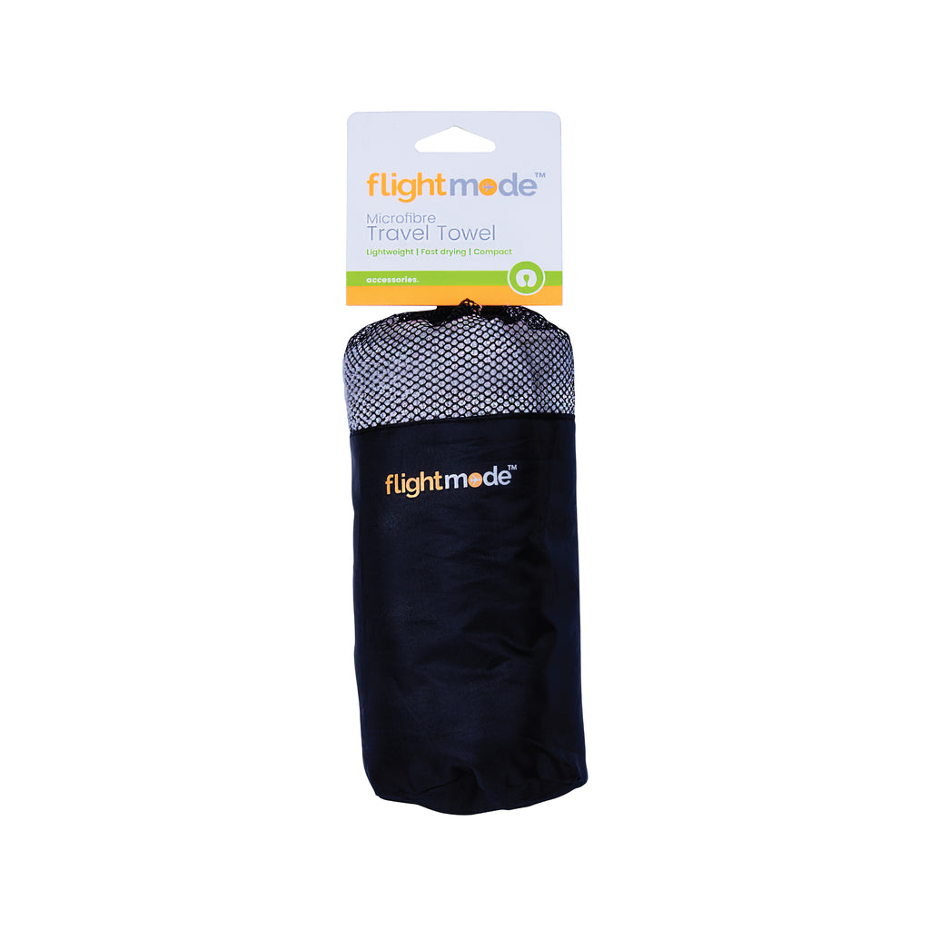 Flightmode MicroFibre Travel Towel - Lightweight, fast drying and compact, the Microfibre Travel Towel dries faster than a standard towel and is 1/8th the size of a standard towel, it comes with a drawstring carry bag. Available in blue and grey. Size: 75 x 130cm