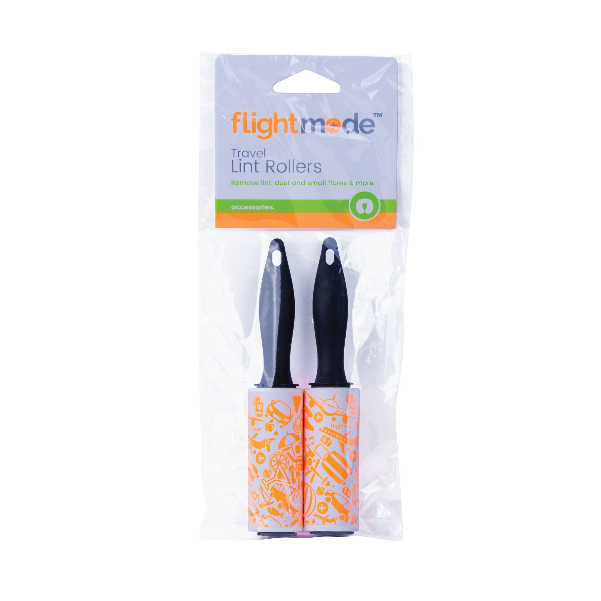Flightmode Lint Rollers 2 Pack - These Travel size Lint Rollers are super convenient and perfect for carry-on luggage. The compact size makes them perfect for travelling, so keep one in your luggage, back pack or handbag to eliminate unsightly lint whenever necessary. Includes 30 perforated adhesive sheets per roller that are easy to remove.