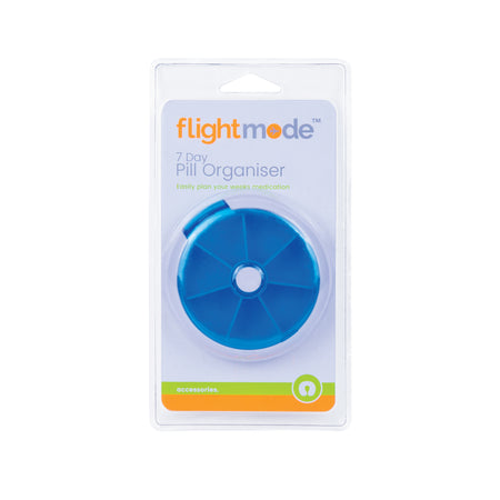 Flightmode 7 Day Pill Organiser - This 7 Day Pill Organiser will help you to remember your daily medication or multivitamins. Simply fill each of the compartments with your daily needs, and push the centre button to rotate for each day.
