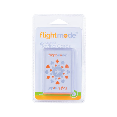 Flightmode Playing Cards in Plastic Carry Case - These Waterproof Playing Cards help to pass the time when on route to destinations, relaxing by the pool or those rainy days when you're stuck in your room. Made from ultra durable non-tear PVC material, they're easy to wipe clean and compact. They also come with a plastic carry case.