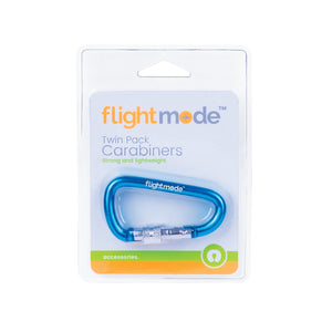 Flightmode Carabiniers 2 Pack - Suitable for keys, drinks, clothing, camping etc. with universal attachment clips and easy spring action, these Caribiners are perfect for travelling. Available in blue and black. Holds up to: 20kg. Length: 66mm. Not For Climbing