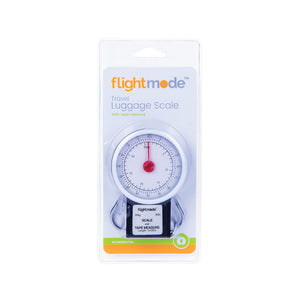 Flightmode Analogue Luggage Scale - Avoid pricey excess baggage charges at the airport with this Travel Luggage Scale. This scale doesn't require batteries, so you'll never be caught short with flat batteries in your luggage scales. Measures weight in both kg and lb and holds up to 35kg/80lb. It also comes with a 1m retractable measuring tape.