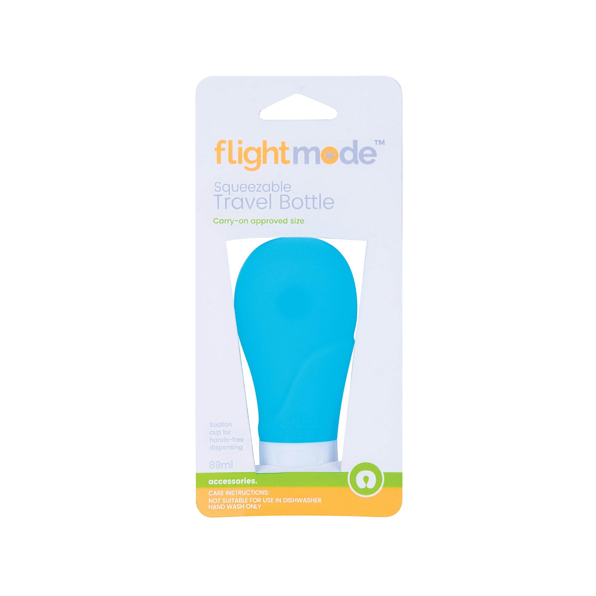 Flightmode 89ml Squeezable Travel Bottle - This non-drip and leak-proof Squeezable Travel Bottle is perfect for taking creams or lotions with you when travelling. With an easy fill cap and a suction cup for hands-free dispensing, and carry-on approved it's a versatile addition to any trip.