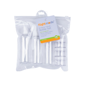 Flightmode Travel Bottle Set Large - With this carry-on approved and re-usable Travel Bottle Set you can take your essential toiletries on your travels. Contains: 3 x 100ml bottles. 3 x 15ml containers. 1 x clear PVC storage bag.