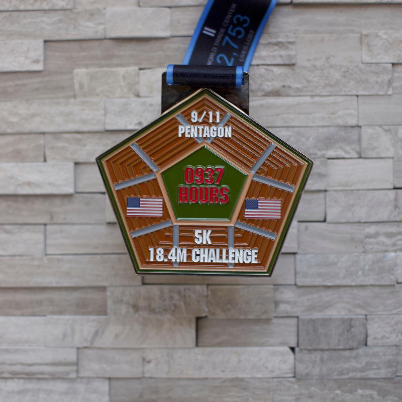 9/11 Pentagon 5K/18.4 Mile Challenge Virtual Race  Medall