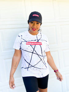 Supermom Splatter White - Black Tee
