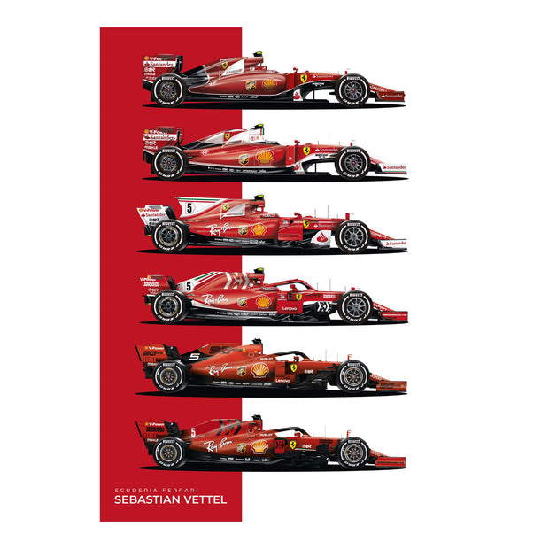 Vettel Single Seaters - Art Print