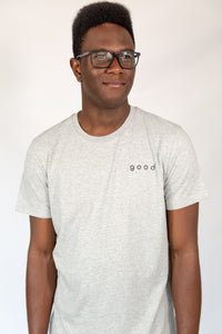 Good Basic - Unisex Embroidered Organic Cotton Tee Heather Grey