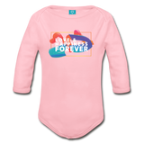 Love & Happiness Forever - Organic Long Sleeve Baby Bodysuit - light pink