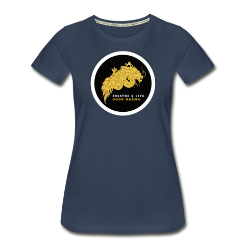 Breathe and Live Good Karma - Women's Premium Organic T-Shirt - navy