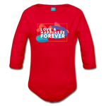Love & Happiness Forever - Organic Long Sleeve Baby Bodysuit - red