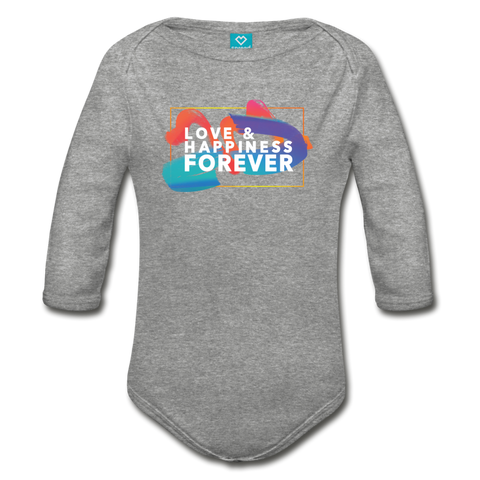 Love & Happiness Forever - Organic Long Sleeve Baby Bodysuit - heather gray