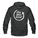 Smile. Shred. Repeat - Unisex Fleece Zip Hoodie - charcoal gray