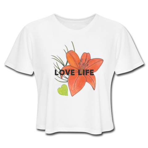 Love Life Flowers - Women's Cropped T-Shirt - white