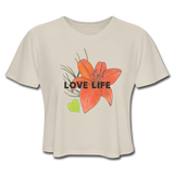 Love Life Flowers - Women's Cropped T-Shirt - Dust