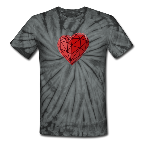 Love Life (Heart) - Unisex Tie Dye T-Shirt - spider black