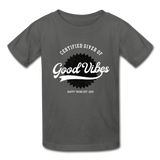 Good Vibes Giver - Youth Tagless T-Shirt - charcoal