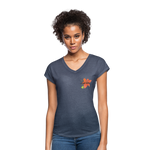Love Life Flowers - Women's Tri-Blend V-Neck T-Shirt - navy heather