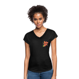 Love Life Flowers - Women's Tri-Blend V-Neck T-Shirt - black